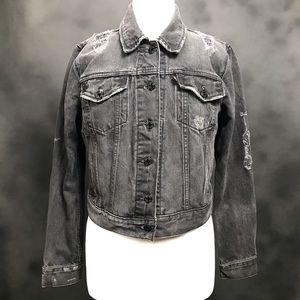Levi's Distressed Black Denim Jean Jacket  S/M